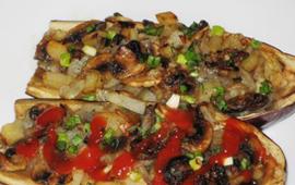 как запечь баклажаны с грибами